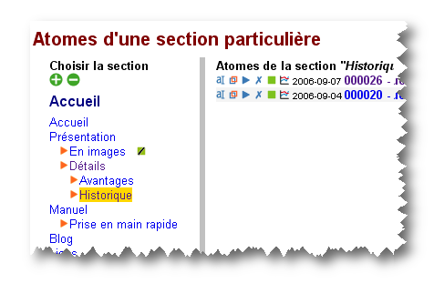 Atomes d'une section